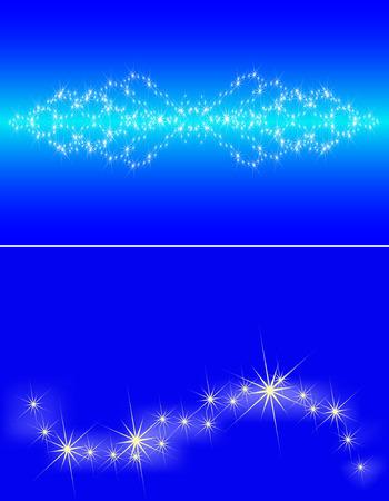 Congestión de estrellas en el cielo azul oscuro, un conjunto de dos pancartas Ilustración de vector