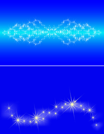 Congestion of stars in the dark blue sky, a set from two banners Vector