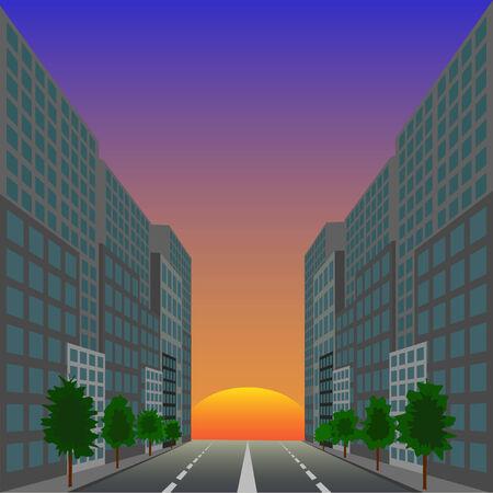 rosnąco: The ascending red sun against city street Ilustracja