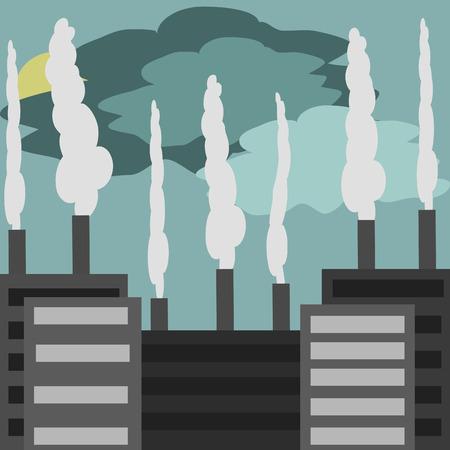 industrial landscape: Paesaggio industriale, fabbriche e fabbriche con tubi Vettoriali