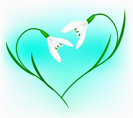 Snowdrop in the form of heart on a blue background Vector