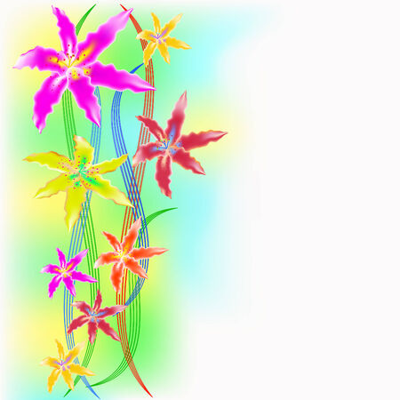 Multi-colored orchids on a wavy color background Vector