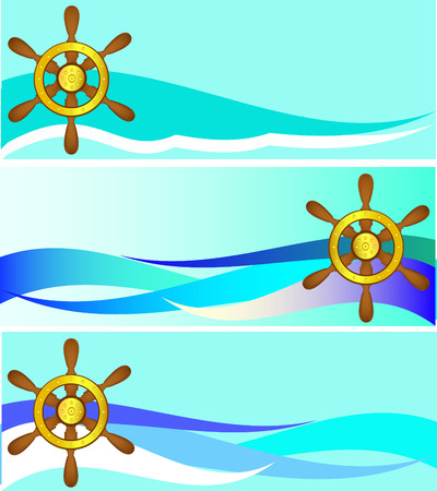 Set of banners with a steering wheel and waves Vector