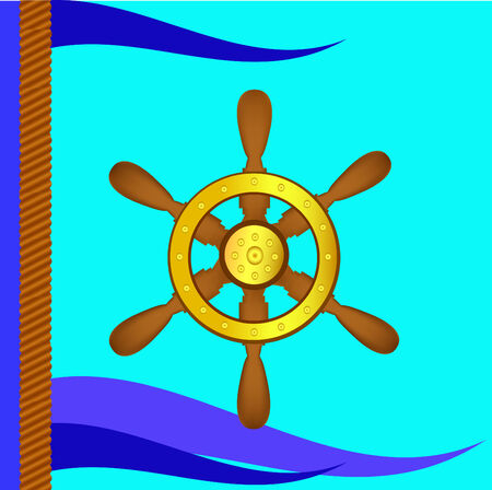 Ship steering wheel and flags on a blue background Vector