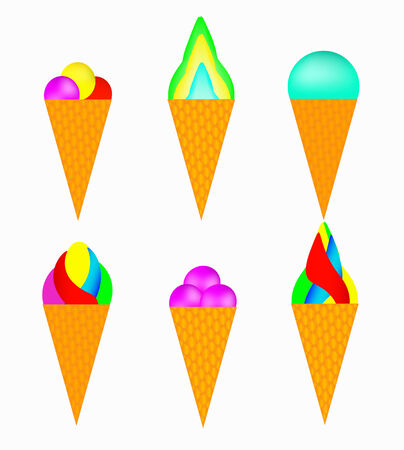 Set of multi-colored ice-cream on a white background Stock Vector - 9096512