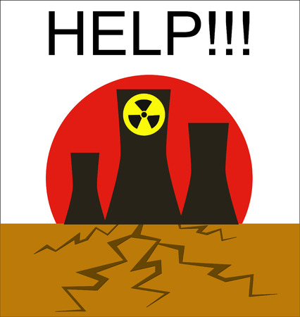 steam turbine: Danger of atomic power stations to the nature, Japan Illustration