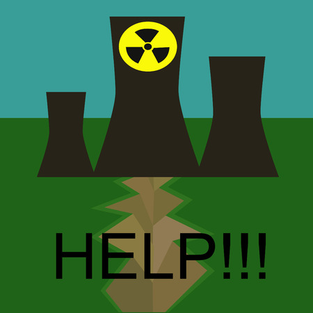 Danger of atomic power stations to the nature, Japan Vector