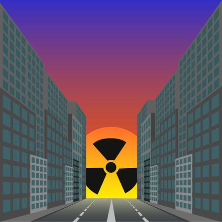 health threat: Dead city against the ascending radiating sun Illustration