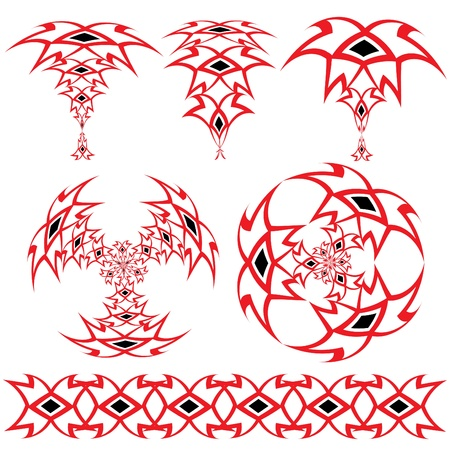 Set from the Arabian ornaments of red and black color on a white background Vector