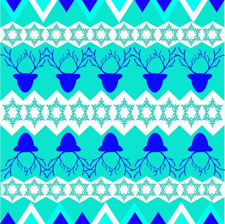 Ornament of northern people with yurtas and deer Vector