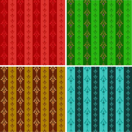 Set from abstract seamless wall-paper in different color Vector