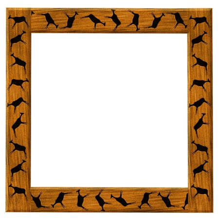 Wooden brown framework with the African animals photo