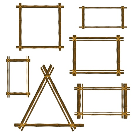 bamboo leaves: Set of bamboo frame on a white background Illustration