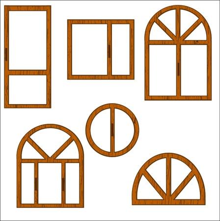 Conjunto de ventanas de madera de forma diferente sobre un fondo blanco