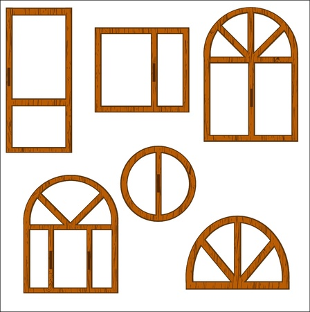 window sill: Set of wooden windows of the different form on a white background