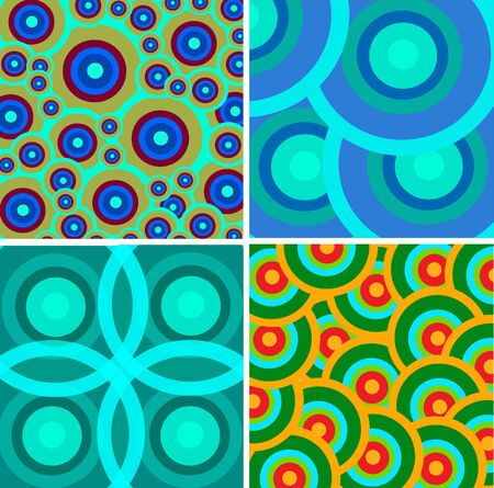 Set from abstract retro ornaments in different color Vector
