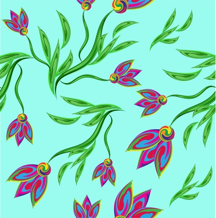 Set of colourful flower ornaments, seamless pattern Vector