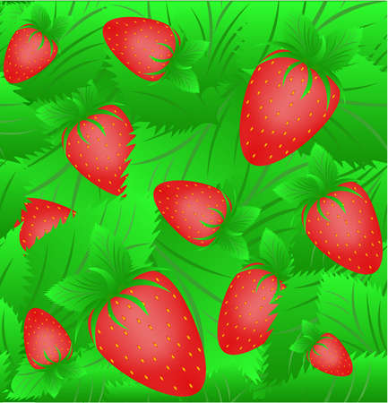 The seamless sample of a strawberry in green leaves Vector