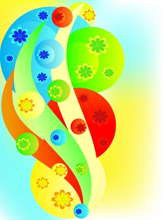 Background from multi-colored spheres, a blue waves Stock Vector - 9505912
