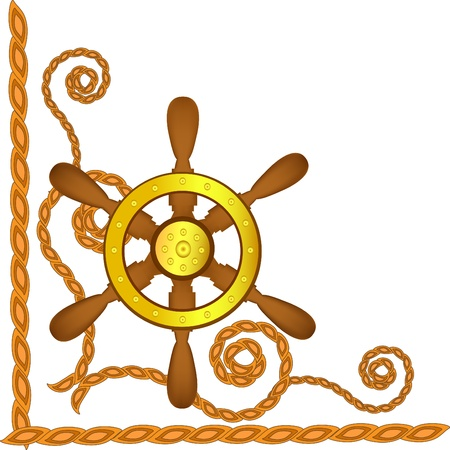 Ship steering wheel and flags on a blue background Stock Vector - 9505891