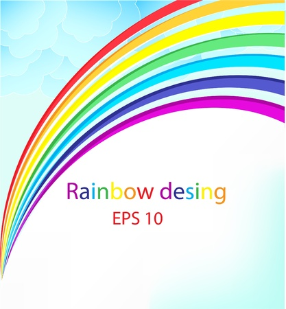 rainbow colours: Colourful background from a rainbow with fluffy clouds Illustration