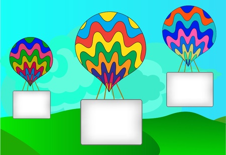 White banner by a balloon, a landscape Vector