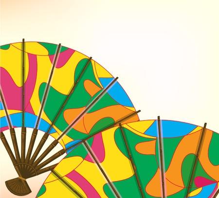 wood craft: Multi-colored bamboo fan, east symbol, Japan, Asia