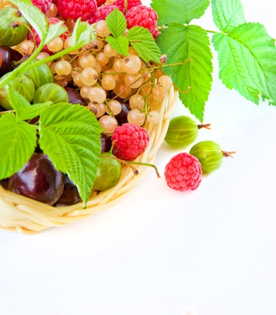 Basket with a raspberry, a cherry and a gooseberry, green leaves Stock Photo - 10009830