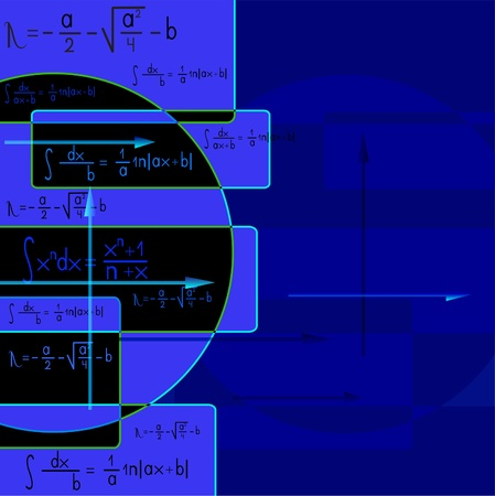 Abstract blue background with mathematical formulas and an arrow  Vector
