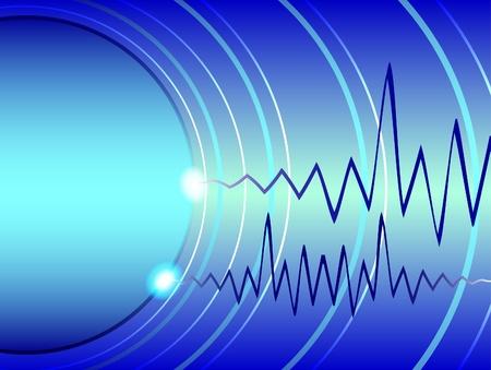 radiation: Azules olas de un radar y la cardiogram azul oscuro