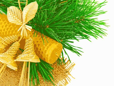 firtree: Straw hand bells, candle and fir-tree branch, New Years card