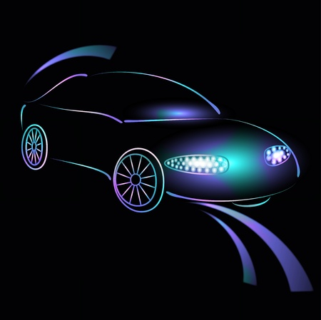 prestige car: Background from a car silhouette in neon light, light of headlights