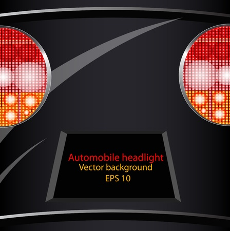 headlights: Background from a car part, light of headlights and license plate for the text