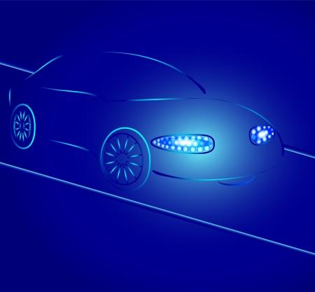 scheinwerfer: Hintergrund von einer Auto-Silhouette in Neon-Licht, Licht der Scheinwerfer