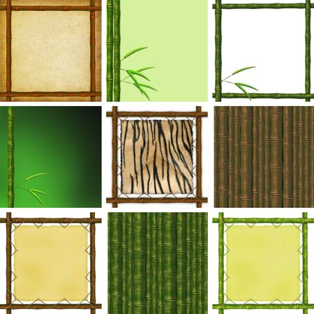 Set of framework from bamboo branches on a grunge background photo