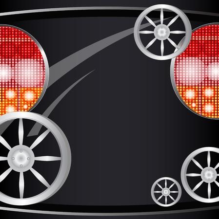 scheinwerfer: Hintergrund von einem Auto Teil, Licht der Scheinwerfer und Kennzeichen f�r den Text Illustration