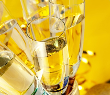 Glasses with champagne, a New Year's background  photo