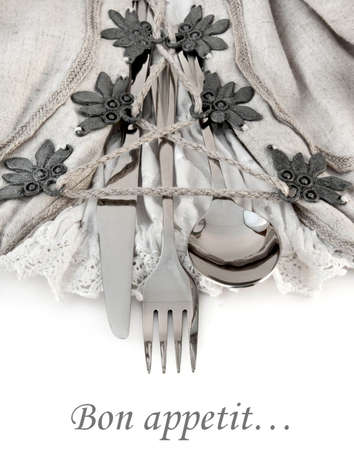 Table fork and knife in a napkin of medieval style Stock Photo - 11156796