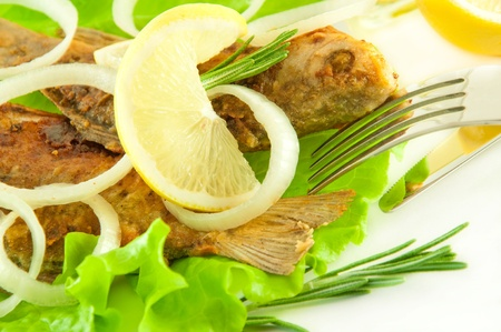 Fish fried, a crucian with a lemon, rosemary and olive oil photo