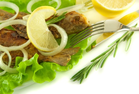 Fish fried, a crucian with a lemon, rosemary and olive oil Stock Photo - 11377042