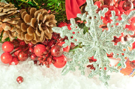 Christmas branch of berries with a silver decorative snowflake against snow photo
