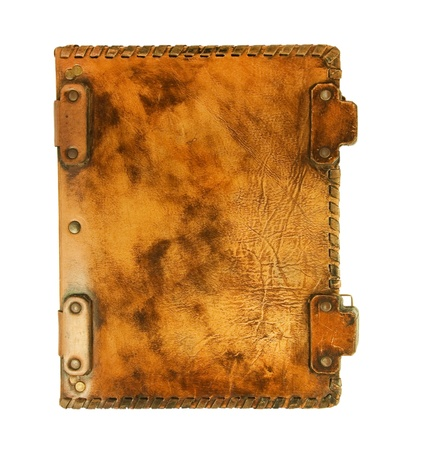 old book cover: The ancient book in leather cover, a skin structure Stock Photo