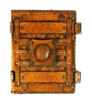 libros antiguos: El libro antiguo en la cubierta de cuero, una estructura de la piel Foto de archivo