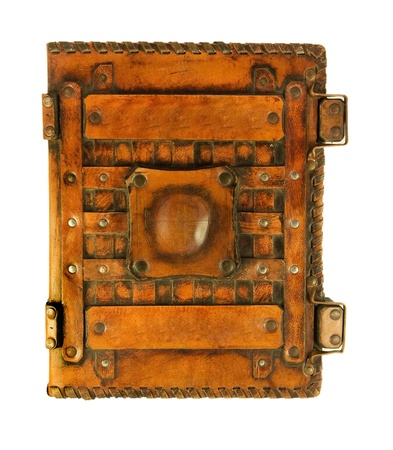 The ancient book in leather cover, a skin structure Stock Photo