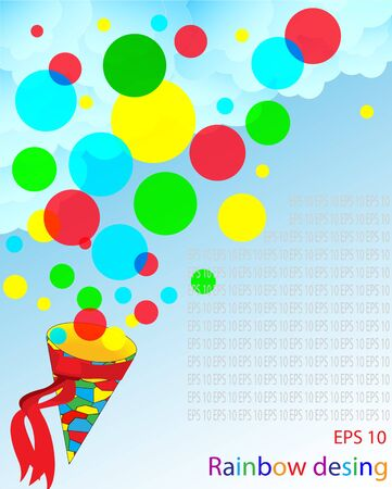 Gift background from multi-colored spheres with a cone Vector