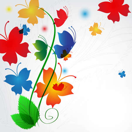 Abstract background from multi-colored butterflies with curls  Vector