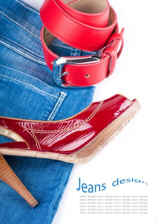Red belt and shoes, a jeans bag and a skirt on a white background Stock Photo - 12949611