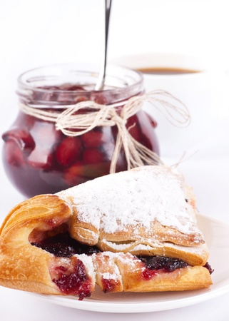 House jam and croissant with a cherry Stock Photo - 13106842