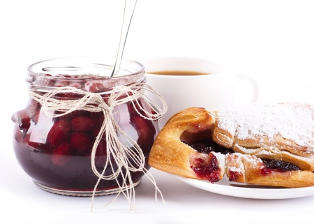 House jam and croissant with a cherry Stock Photo - 13106887