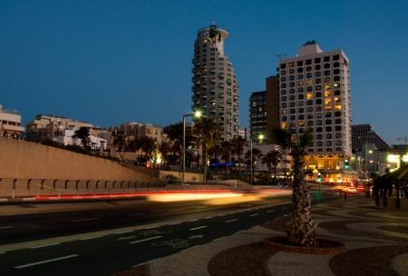 Sunset on the embankment in Tel Aviv, Israel Stock Photo - 13627253